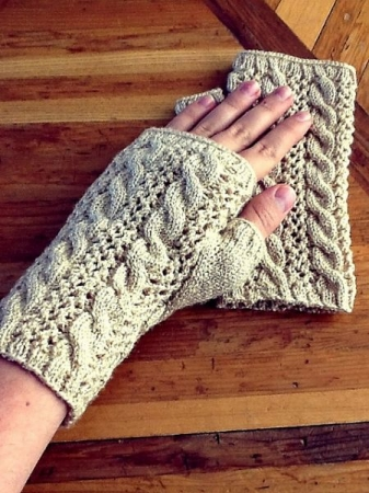 Cables and Lace fingerless gloves knitted by Emily H.