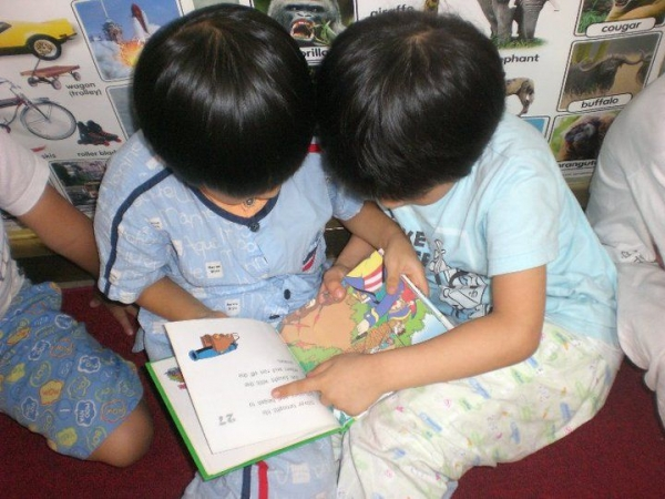 My students reading during Pajama Day!