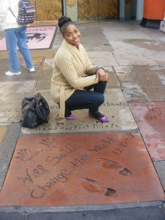 On the Walk of Fame in Hollywood, California- next to Will Smith's footprints.