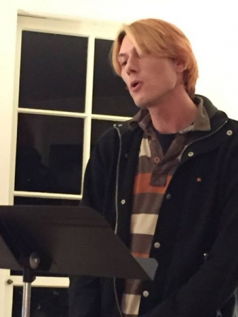 Judson at our regular Studio Supper Sing where students sing for one another in a supportive and encouraging environment.