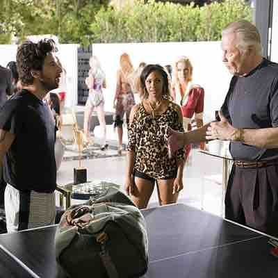 On the set of Ray Donovan after our training session with Jon Voight , Jake Hoffman and T. Lynn Eanes  for the Ping Pong scene .