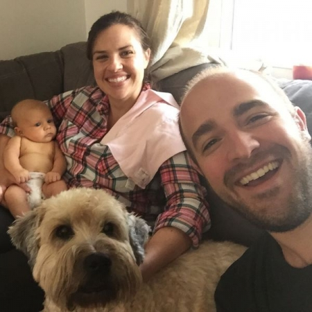 A family portrait with my wife Alejandra, daughter Sofía, and pup Barnaby.
