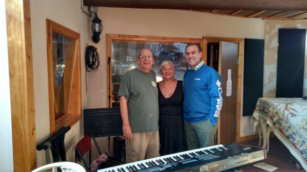 With Bud Snyder, legendary engineer for the Allman Brothers, Eddie Tobin and myself during a recording of my CD.