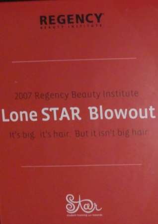 Certificate of winning a Lone Star Blowout Vacation in San Antonio, Texas from Regency Beauty Institute