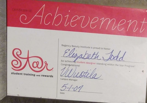 Certificate of reaching Student Designer status at Regency Beauty Institute