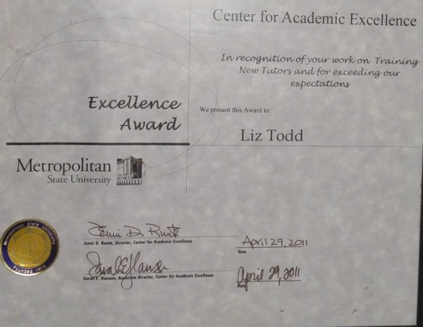 Award for training new tutors and exceeding expectations at Metropolitan State University's Center for Academic Excellence
