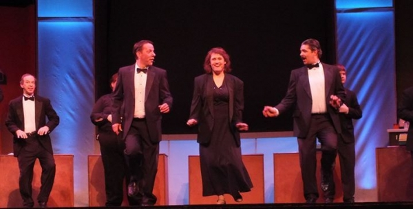 Phil Circle (left) as the boss in 9 to 5, The Musical.