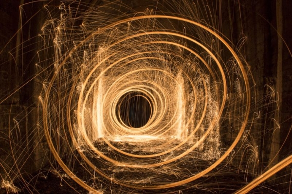 Steel wool in a tunnel. 15 second exposure time.