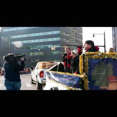 Singing down the streets of Grand Rapids in the Xmas Parade!