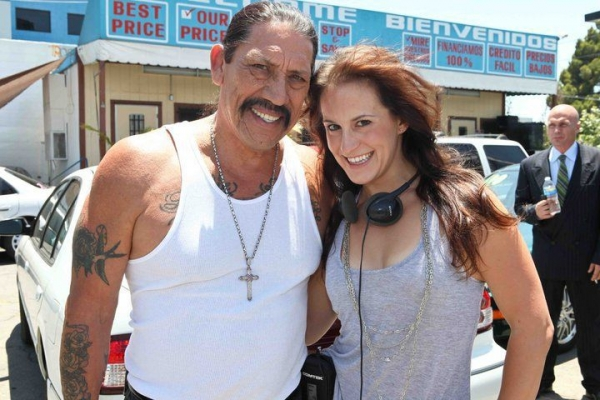 Award-winning screenwriter, Kimberly Spencer with Danny Trejo on the set of her first feature film, BRO'.