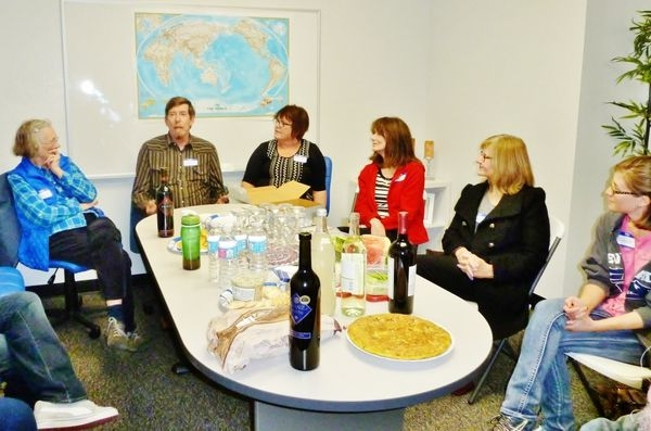 Spanish Conversation Group, sharing some wine and appetizers.
