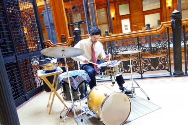 "Playing in the historic Bradbury Building in Downtown Los Angeles as a performer in the opera, ""Hopscotch"" (2015)."