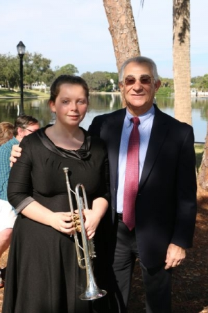 This is my trumpet student Rylee with Tarpon Springs Mayor Chris Alahouzos,
