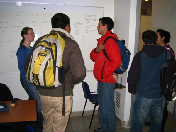 Chatting with students after English class in Santiago, Chile.