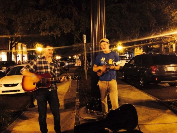 Busking on the street in Wilmington North Carolina.