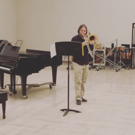 Studio Performance of Frigyes Hidas' Meditation for unaccompanied bass trombone. 11/17/2016