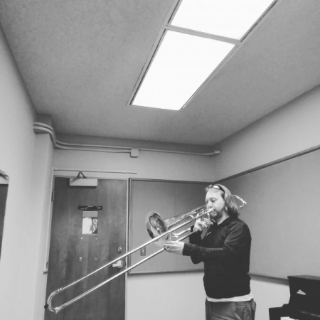 Practicing contrabass trombone for the ASU Trombone Collective. I will be playing contrabass trombone again in the spring!