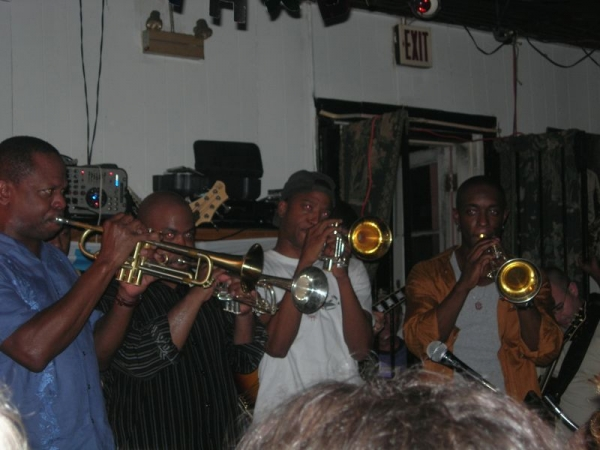 Jamming with some fellow New Orleans Trumpeters. Pictured are Trombone Shorty and Nicholas Payton. Not pictured is Leroy Jones