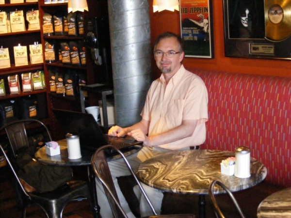 At the coffee shop.  In addition to meeting with students in my home or theirs, sometimes we meet in libraries or cafes.