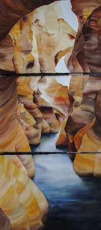large triptych watercolor on paper