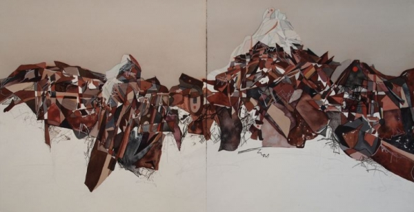 Large diptych, Watercolor on paper
