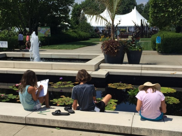 One of Jane's summer-break drawing classes at the Cleveland Botanical Garden.