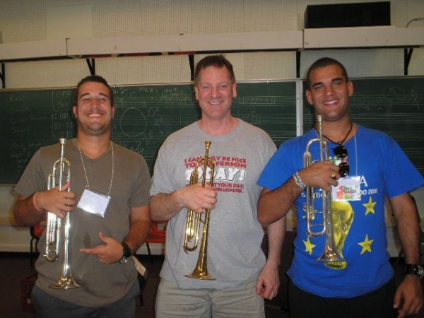 Learning with my trumpet teacher during our Acadia Jazz Camp in Nova Scotia,Canada ,during the 2007's summer