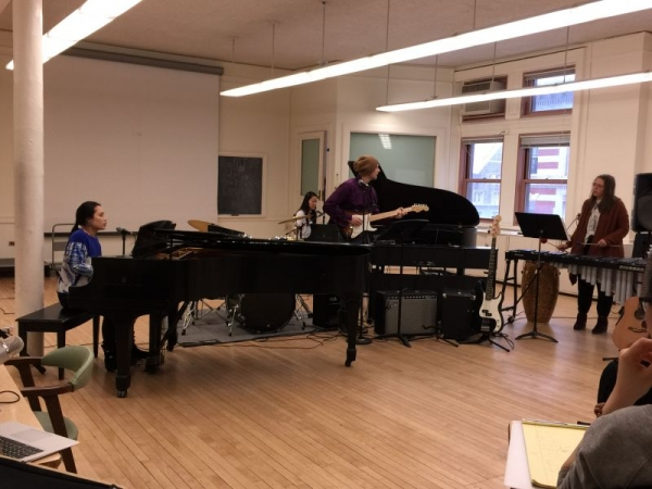 Performing in band as pianist