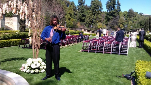 Getting ready to play at a wedding ceremony - Greystone mansion, Los Angeles