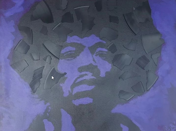 Jimmy Hendrix - acrylic and pieces of a broken record on canvas
