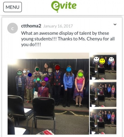 Photos uploaded by parents after 2017 recital. Faces blocked out for privacy since students are minors.
