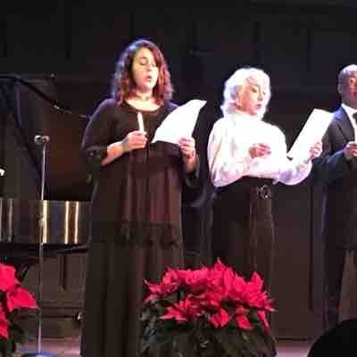 Octet member in Christmas in Italy with Cristina Fontanelli.  NY, NY Dec 2016