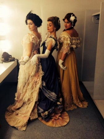 Backstage for THE WINTER'S TALE! I'm on the left and will always be in love with that dress.