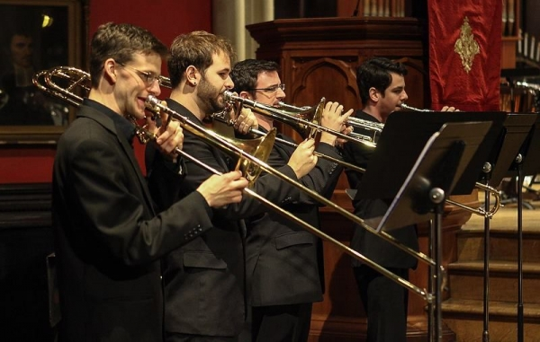During a Gabrieli piece at a Rutgers Brass Ensemble concert