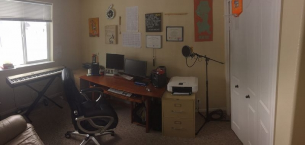 My home studio! My studio piano is slightly in view, but the real piano is off to the side.