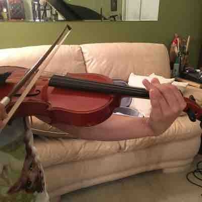 Beginning violin lesson