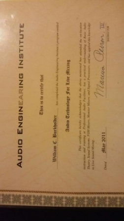 Certificate from Audio EnginEaring Institute for completion of