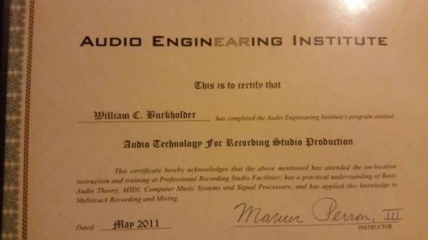 Certificate from the Audio EnginEaring Institute for completion of