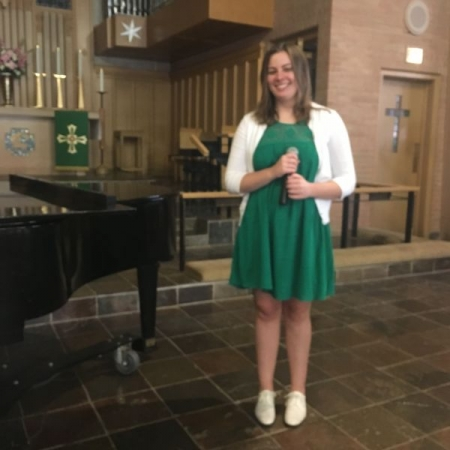 """Madeline, Age 17, singing""""Simple Joys of Maidenhood"""" at our most recent studio recital. Madeline has been my private student for two years"""