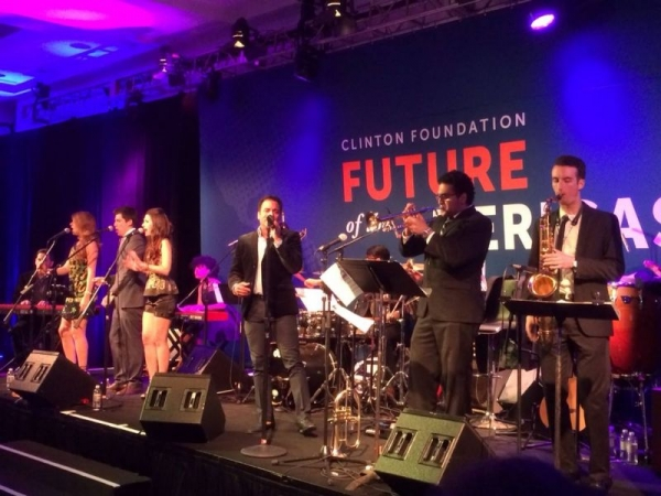 Performing alongside Jon Secada at the Future of the Americas Conference.