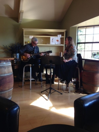 My singer and I performing in Sonoma.
