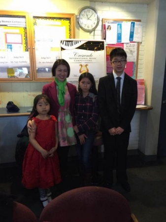 """Three """"First Place"""" winners in Little Mozarts Piano Competition of 2017."""