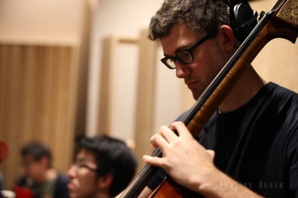 Nate tracking upright bass on a film scoring session at the Berklee College of Music