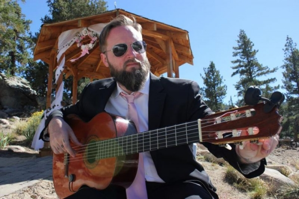 Performing for a wedding in the mountains near Big Bear