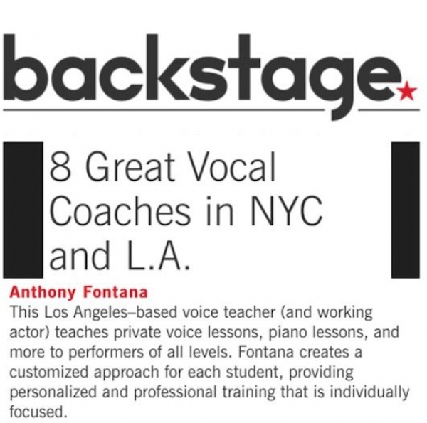 Recognized as a Top Vocal Coach by BACKSTAGE Magazine in 2015