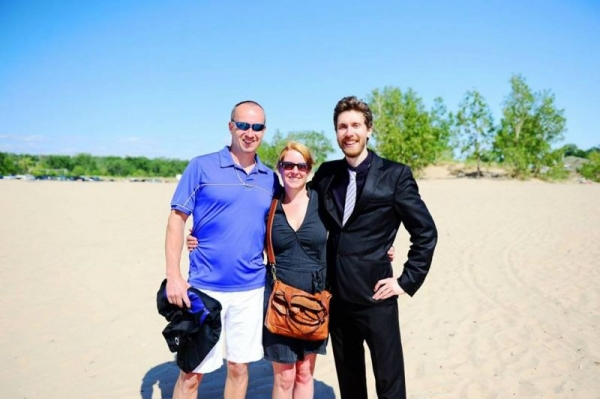 On the beach with friends in Holland, Michigan, USA.