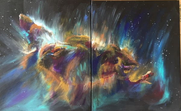 Acrylic on two canvases