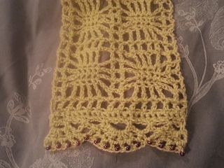 Crocheted Scarf, with beads on the trim.