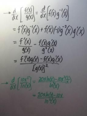Derivation and use of the quotient rule.