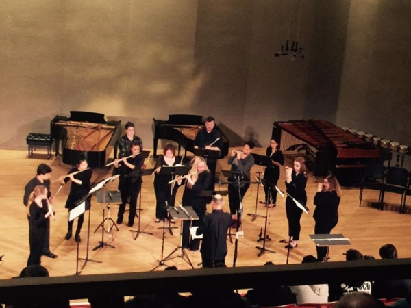 Purchase Flute Studio and alumni performing Steve Reich's, Vermont Counterpoint